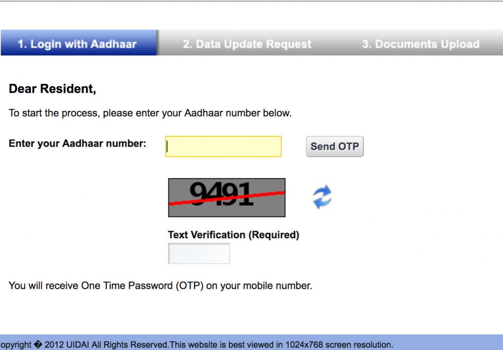 Aadhaar Card Update Login Screen