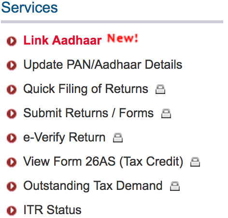 Aadhaar Linking Income Tax Site
