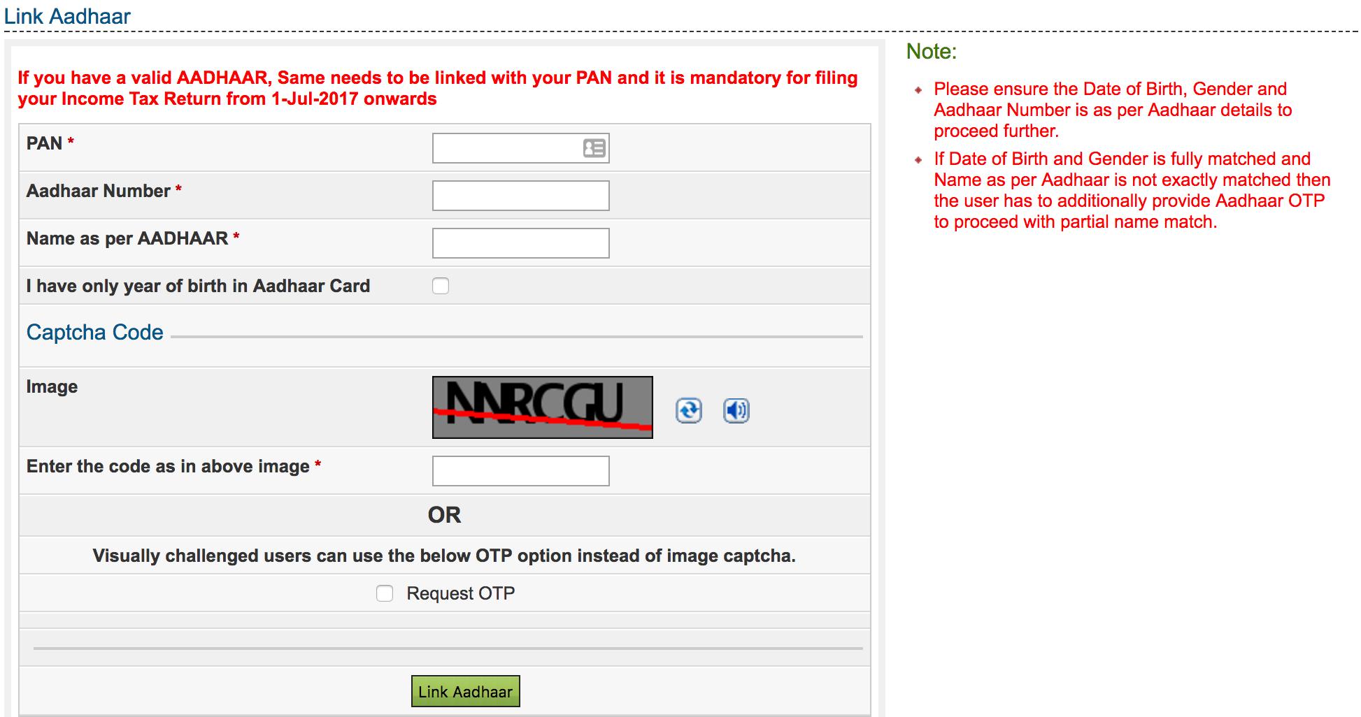 Link Aadhaar Detail Screen