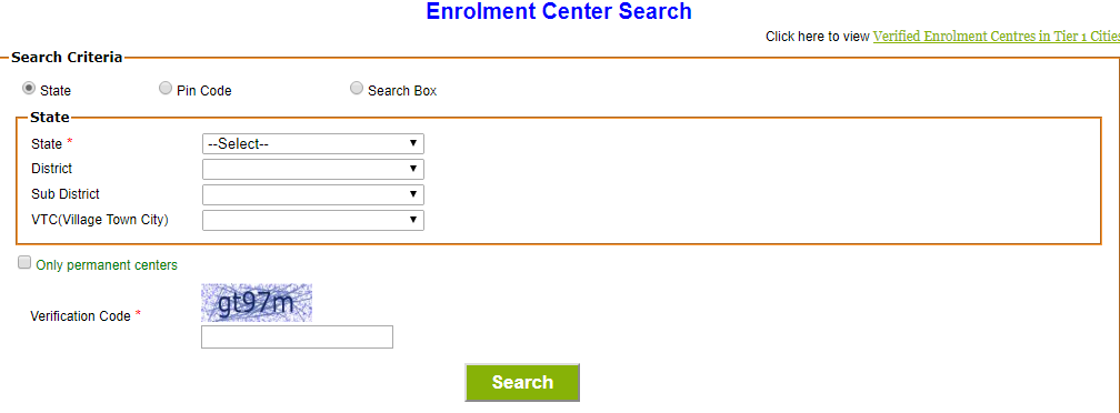 UIDAI Enrollment Centre location Services