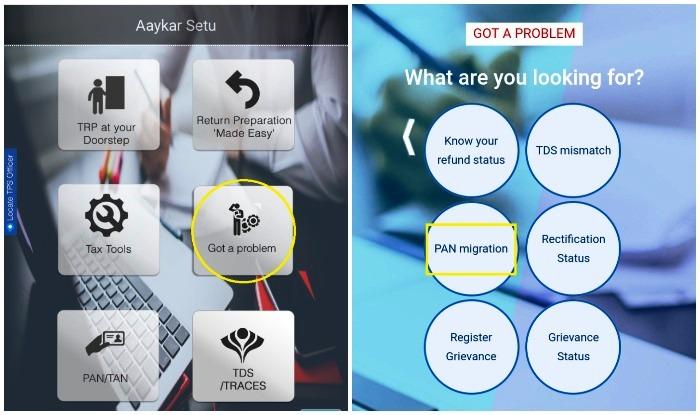 Using Aaykar Setu App to migrate PAN Card