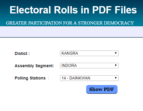 Himachal Pradesh Voter Id Card Electoral Rolls PDF