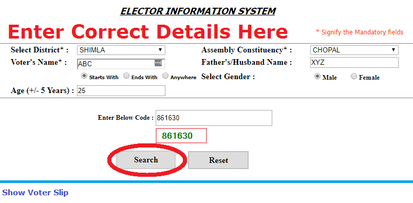 Himachal Pradesh Voter Id Card Search