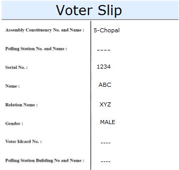 Himachal Pradesh Voter Id Slip