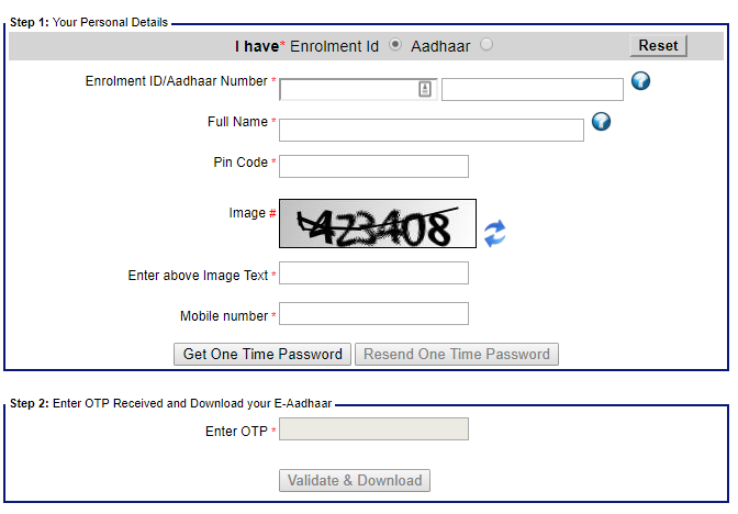 UIDAI Official Website Aadhaar Download Form