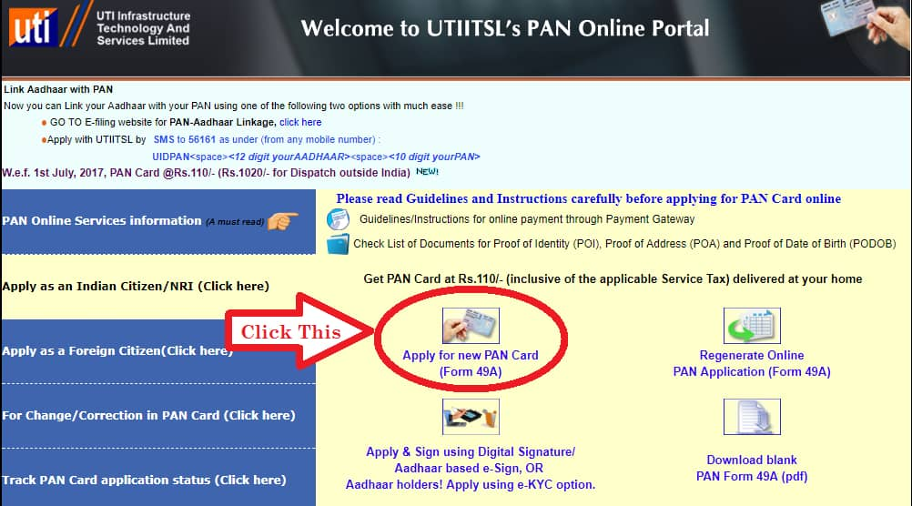 PAN Card Online using www.utiitsl.com