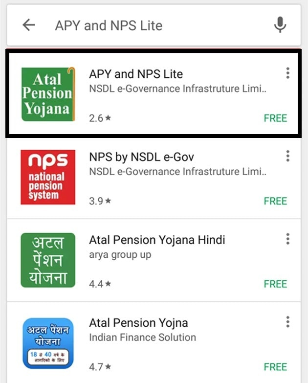 APY and NPS Lite Google Play Store