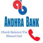 Andhra Bank Check Balance Via Missed Call
