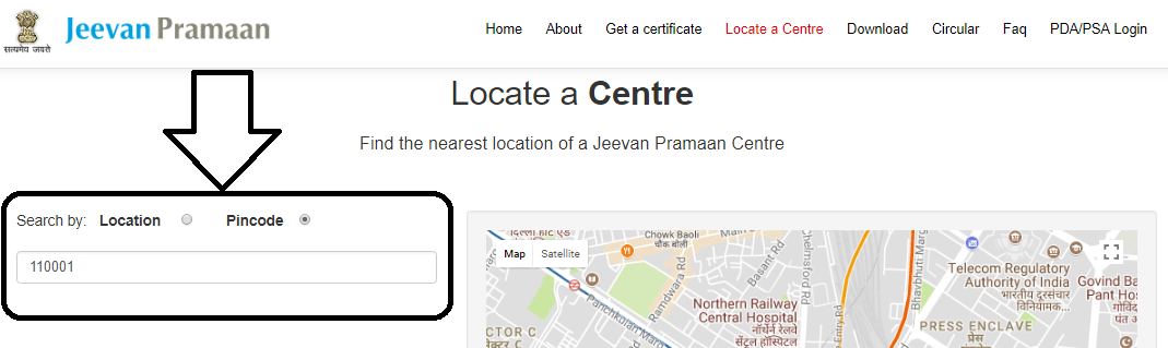 Jeevan Pramaan Locate Center