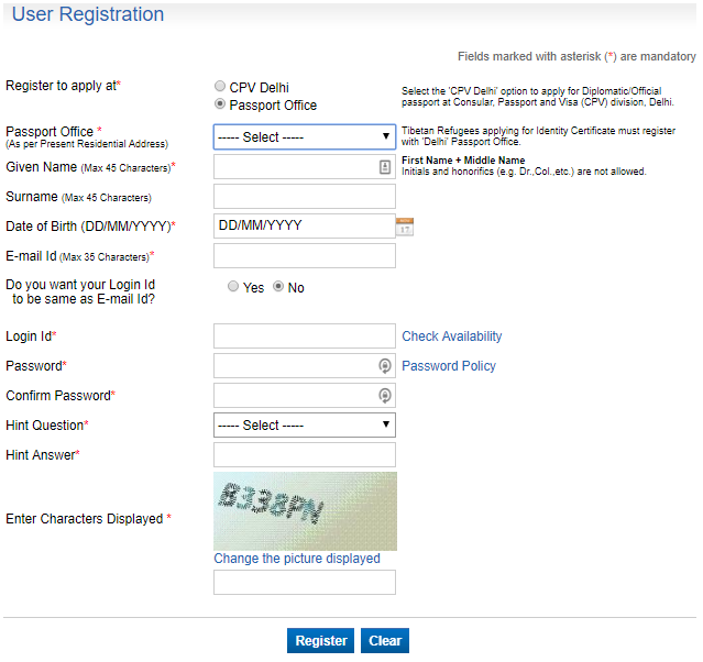 Registration passportindia.gov.in