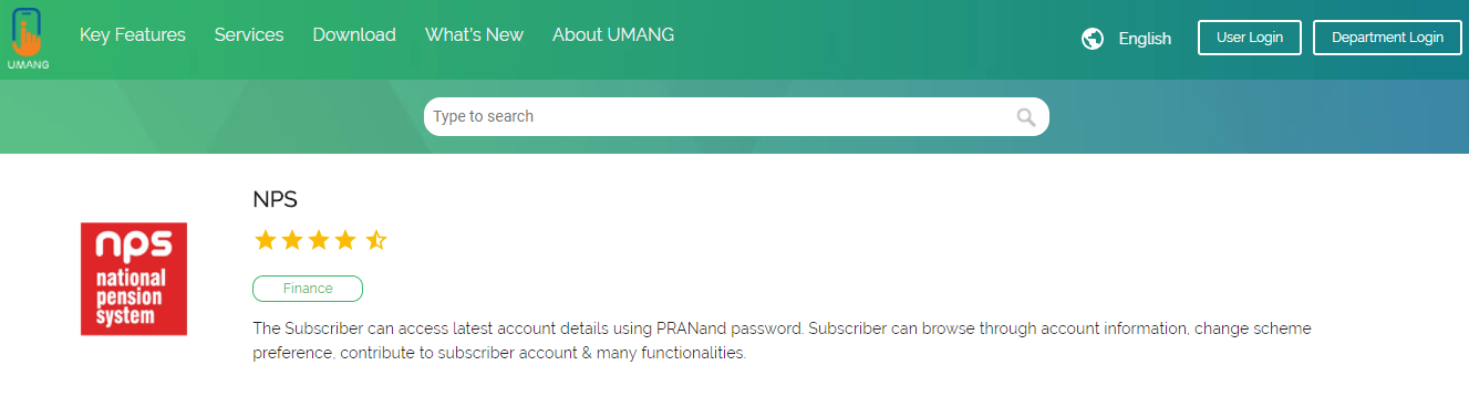 Umang App for NPS